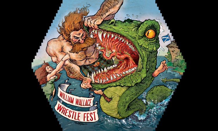 The fantastically awesome William Wallace Wrestle Fest label, designed by Matt LaFleur
