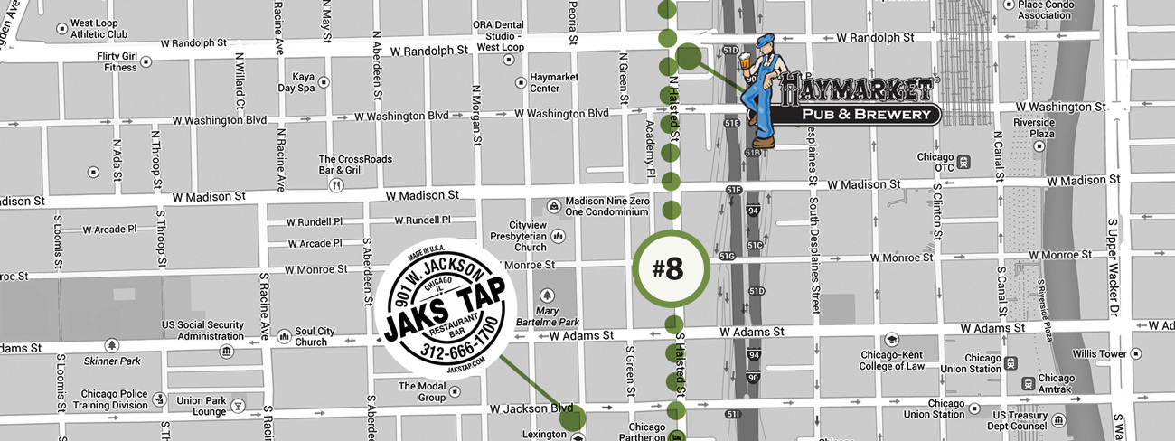 A little jaunt up from Pilsen lands you in Greektown & West Loop area with no shortage of great watering holes.