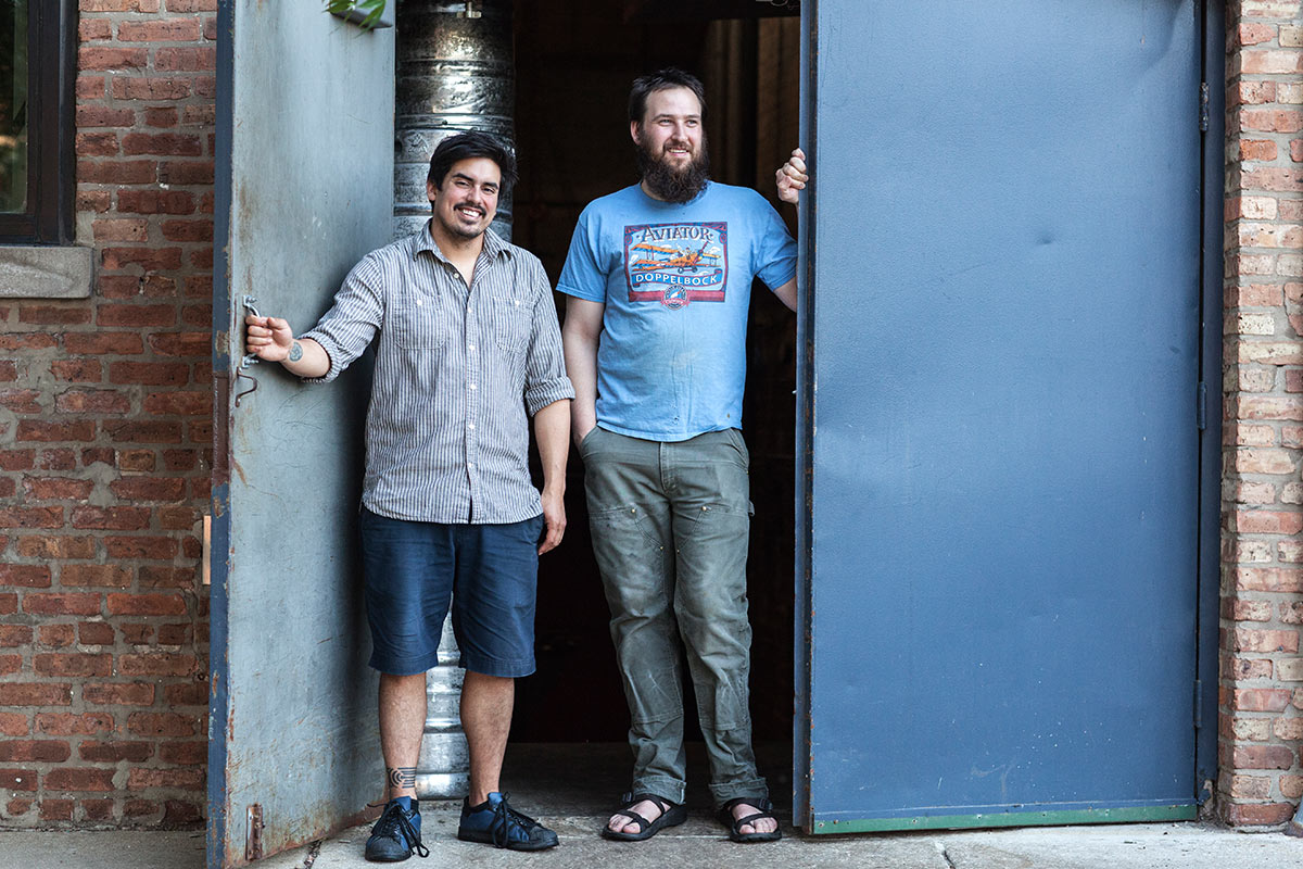 Jacob Sembrano & Jon Naghski keep things brewing at Goose Island Clybourn. [Photo: Melinda Myers]