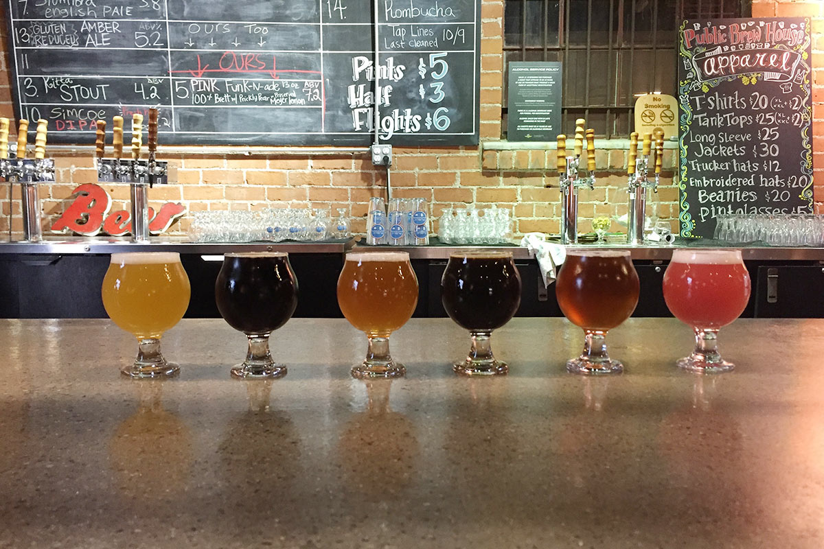Public's rustic taproom, home to Tucson's most colorful flight.
