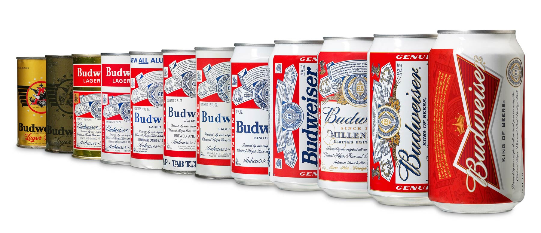 Lineup of previous can designs.