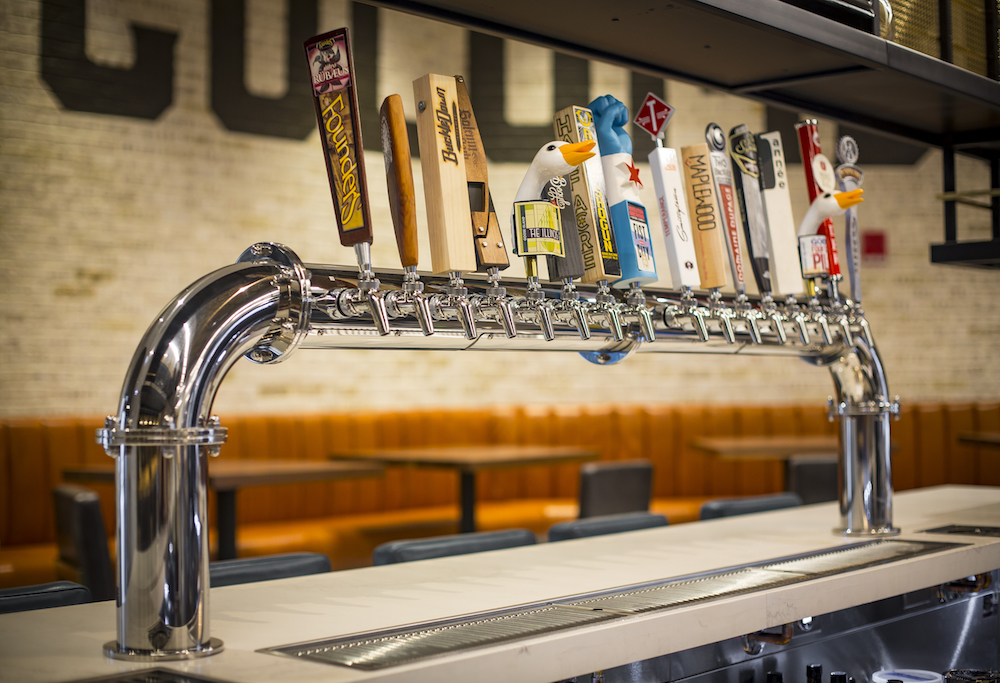 Draft list featuring local brewers Goose Island, Revolution, Half Acre, Maplewood and more.