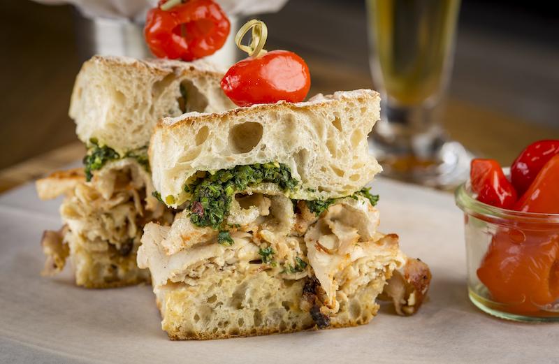 Porchetta with Publican Quality Bread, chimichurri, roasted garlic mayo, cracklings