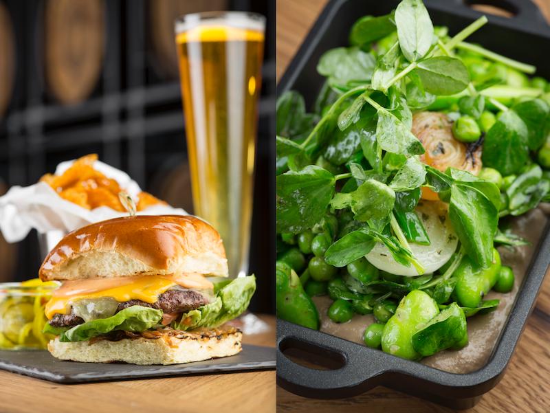 L : Tap That Burger  R : Run Through the Garden (Spring peas, fava beans, pea tendrils, spring onions)