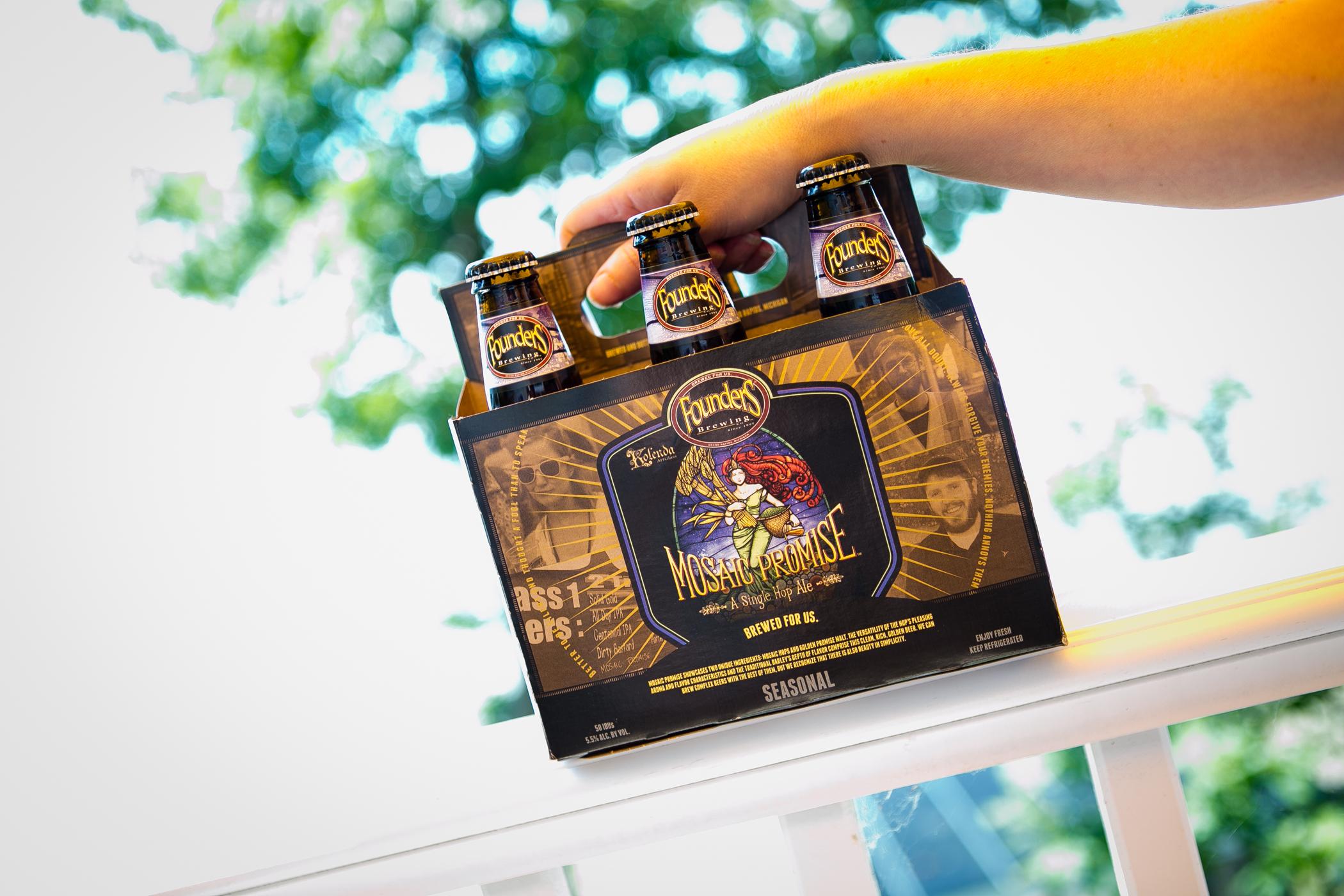 Founders Mosaic Promise, a seasonal, golden single hop pale ale.