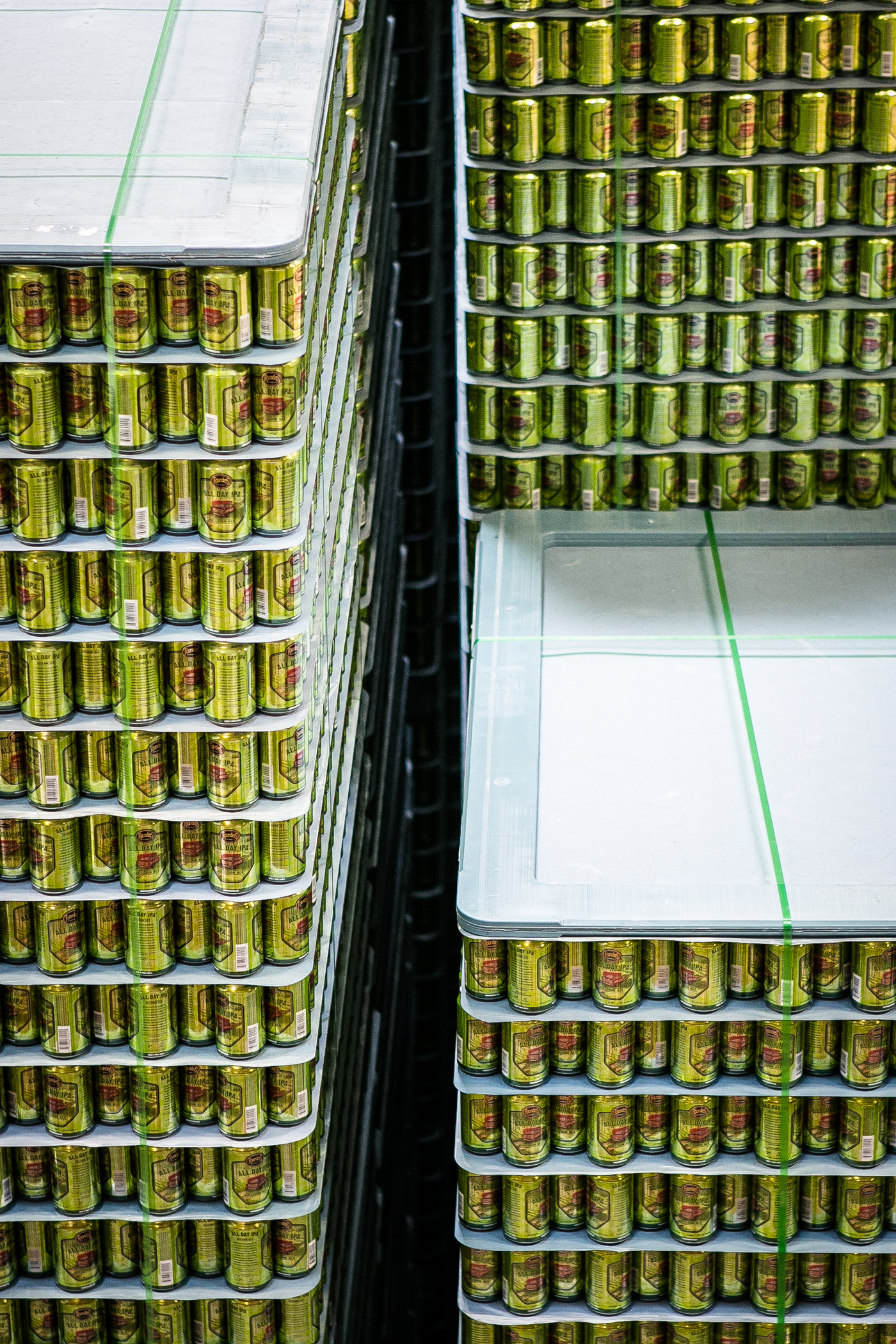 Pallets of All Day IPA cans at the ready...