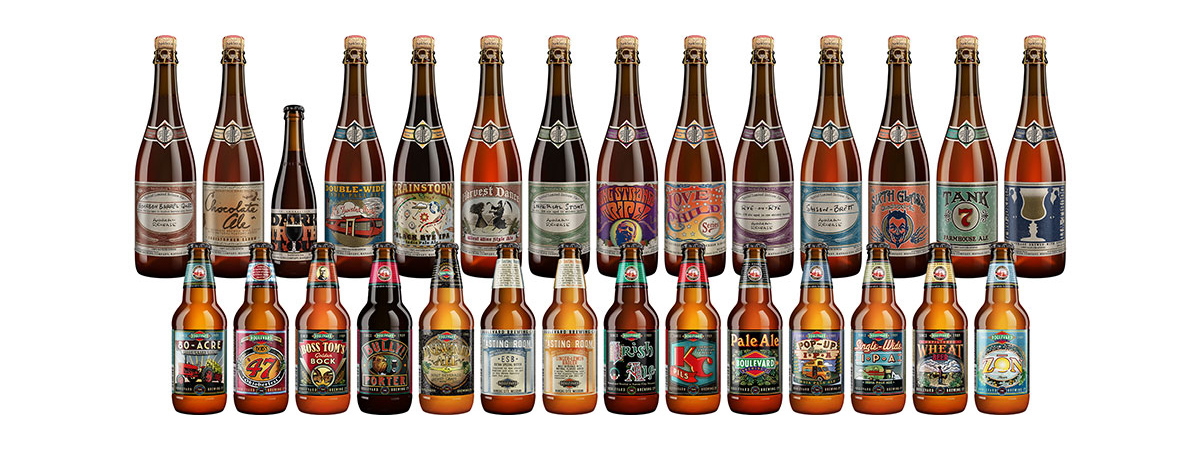 A lineup of previous packaging.