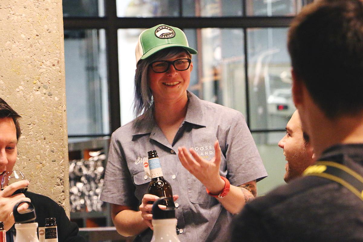 Goose Island brewer,Emily Kosmal, discussing her chosen recipe for 2016's Proprietor's BCBS.