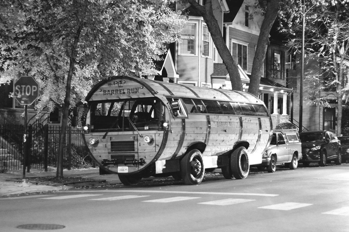 It was only fitting that for a pub crawl with Lauren Salazar, that we rolled in a bus shaped as a barrel.