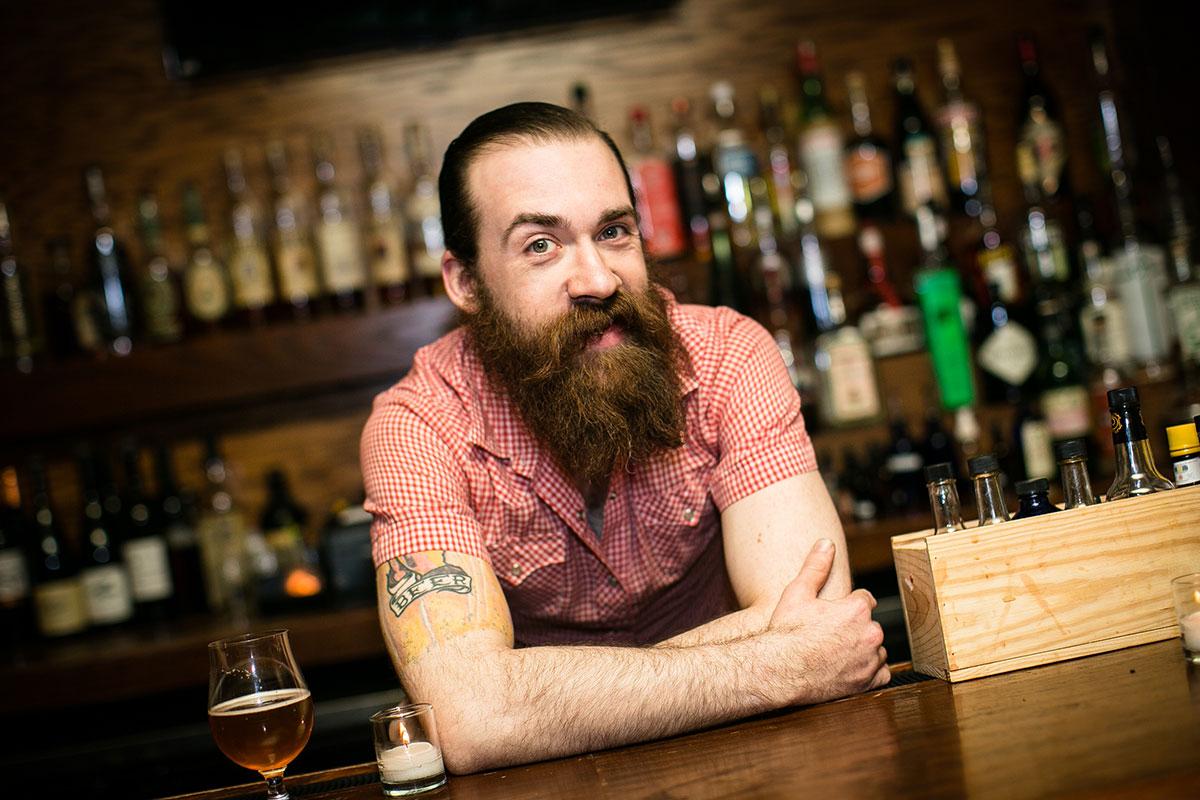 Elliot Beier, the man behind Chicago'srenowned Owen & Engine cask ale program.[Photo:Hilary Higgins ]