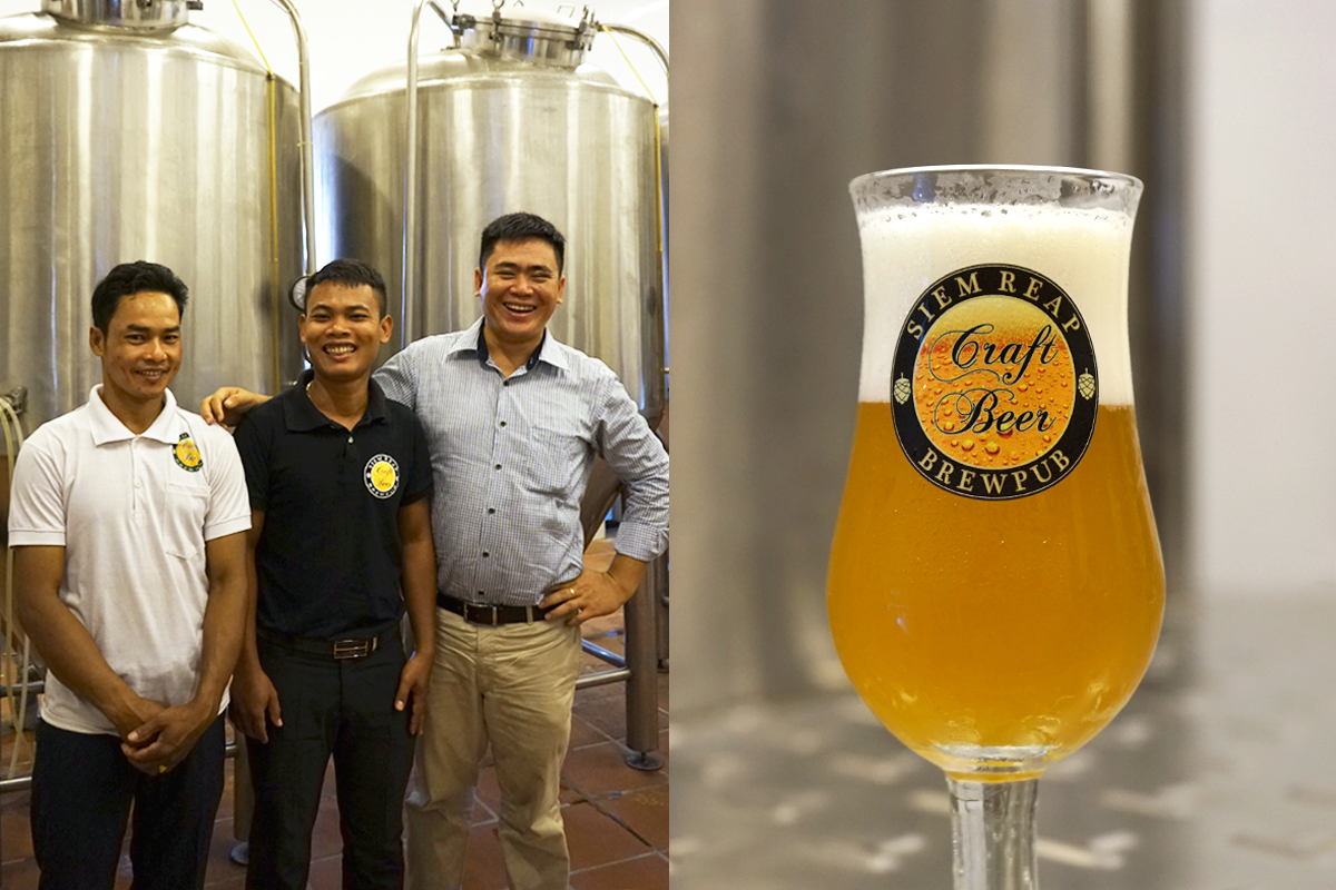 Sereymony and two of the in-house brewers.