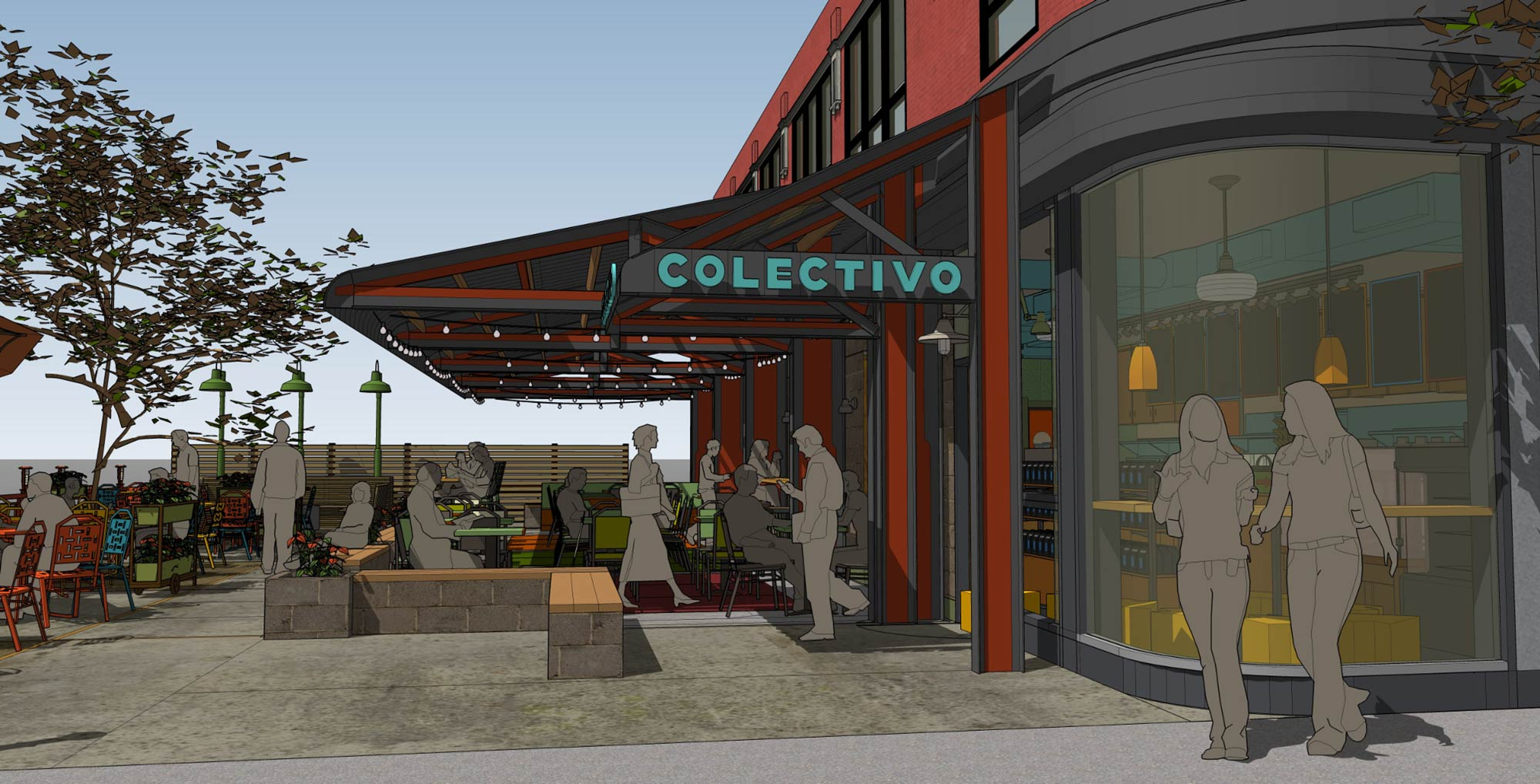Renderings of the upcoming Lincoln Park Chicago Cafe, provided by Colectivo.