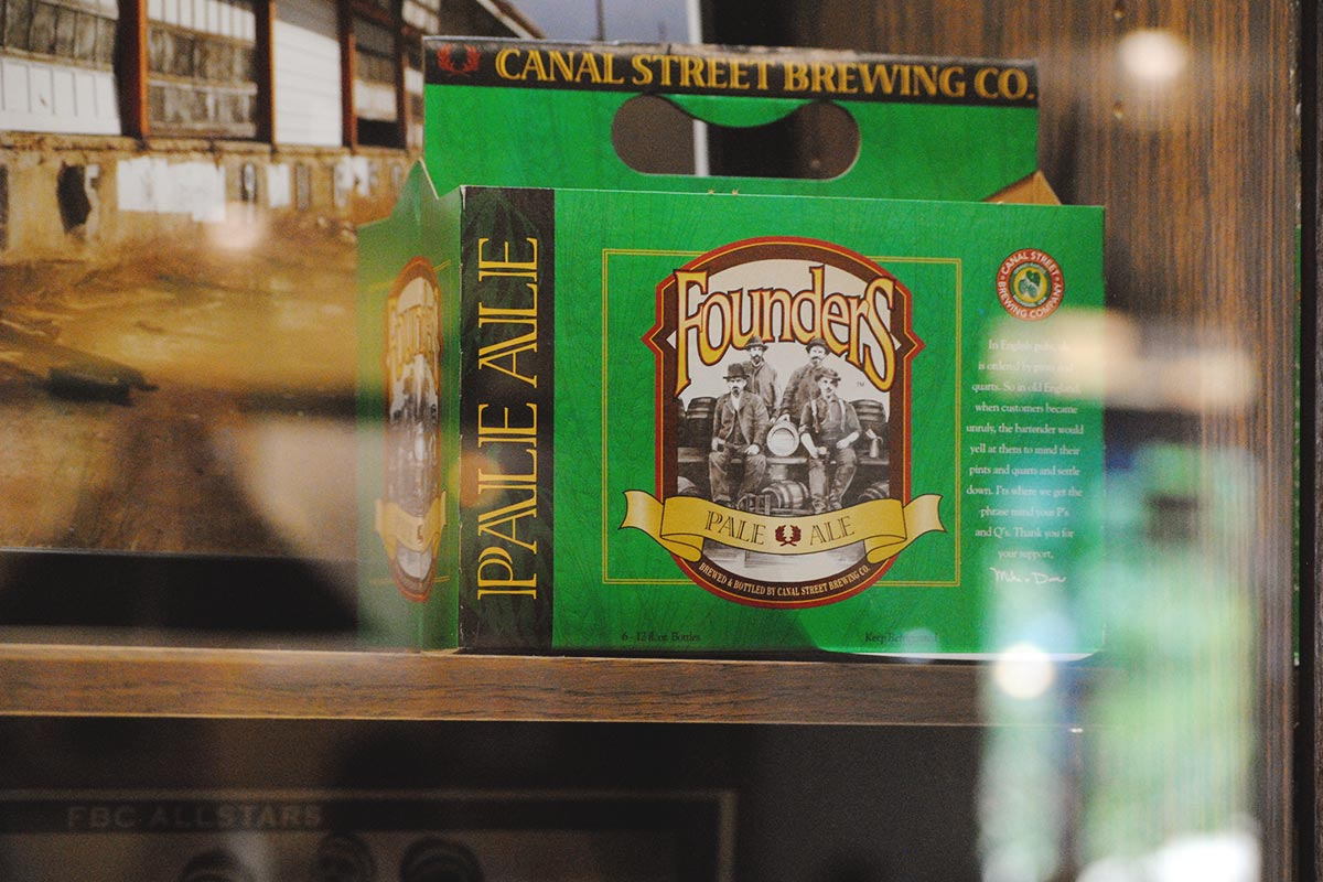 The original packaging sits on display at the Grandville Ave. taproom. Originally 'Canal Street Brewing Co.', their flagship pale ale provided the name they would soon adopt as their brewery moniker.