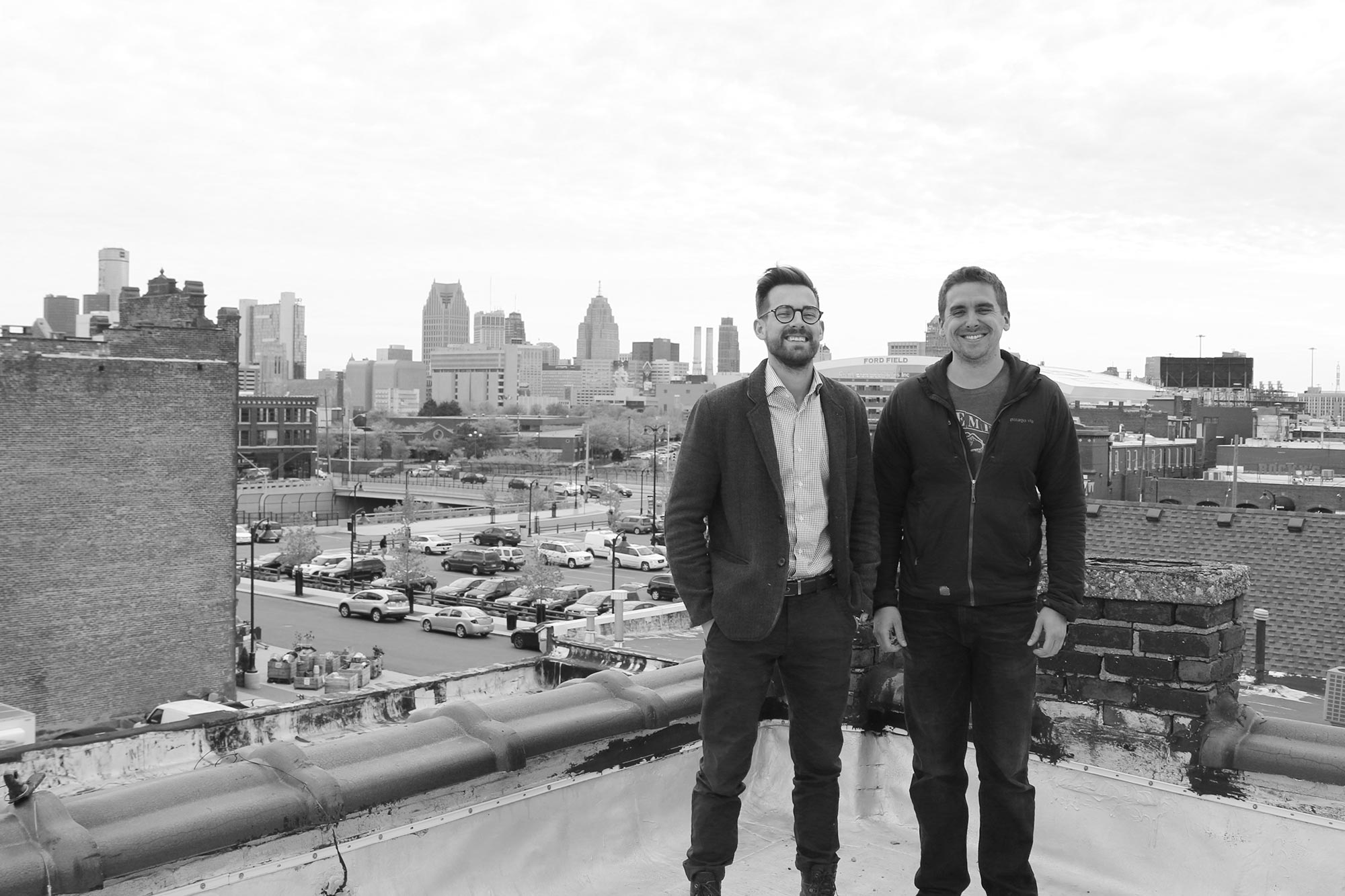 Dayne Bartscht & Paul Hoskin on the roof of Eastern Market Brewing Company, overlooking the market