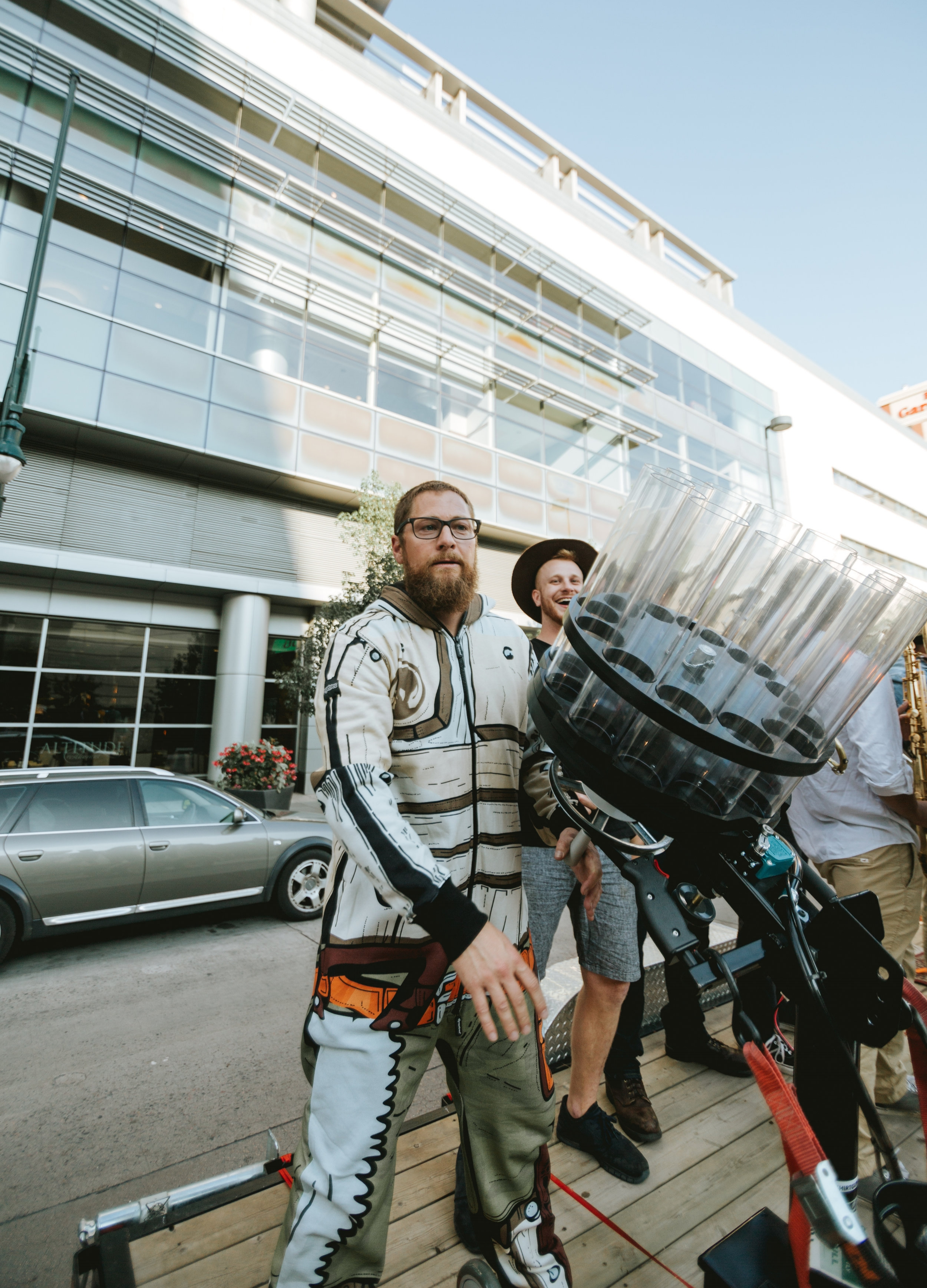 Founder Jeremy Tofte armed with a t-shirt cannon at GABF 2017.