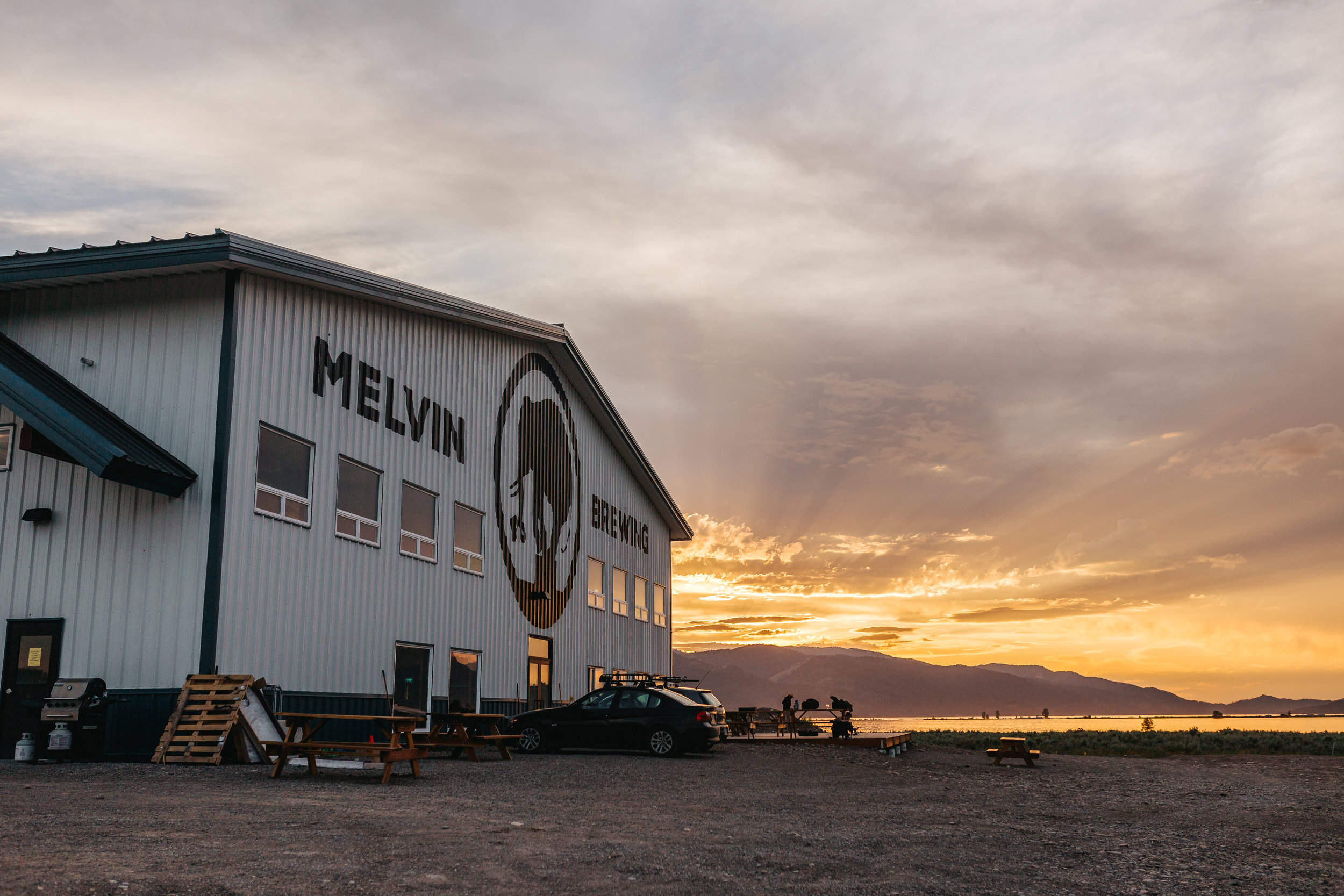 Sunset at Melvin Brewing back in Alpine, Wyoming.