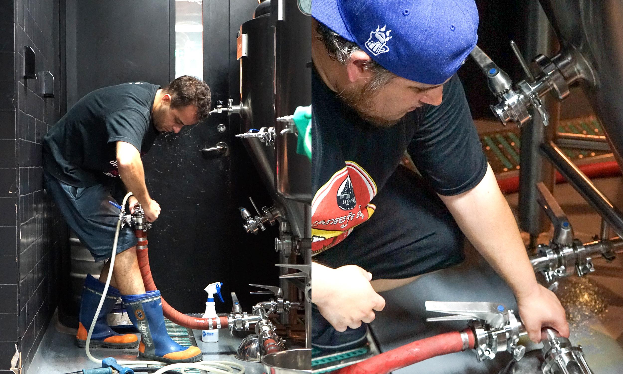 Assistant brewer, Jaoa Pedro (left) and Head Brewer, Matt Jimenez on a brew day.