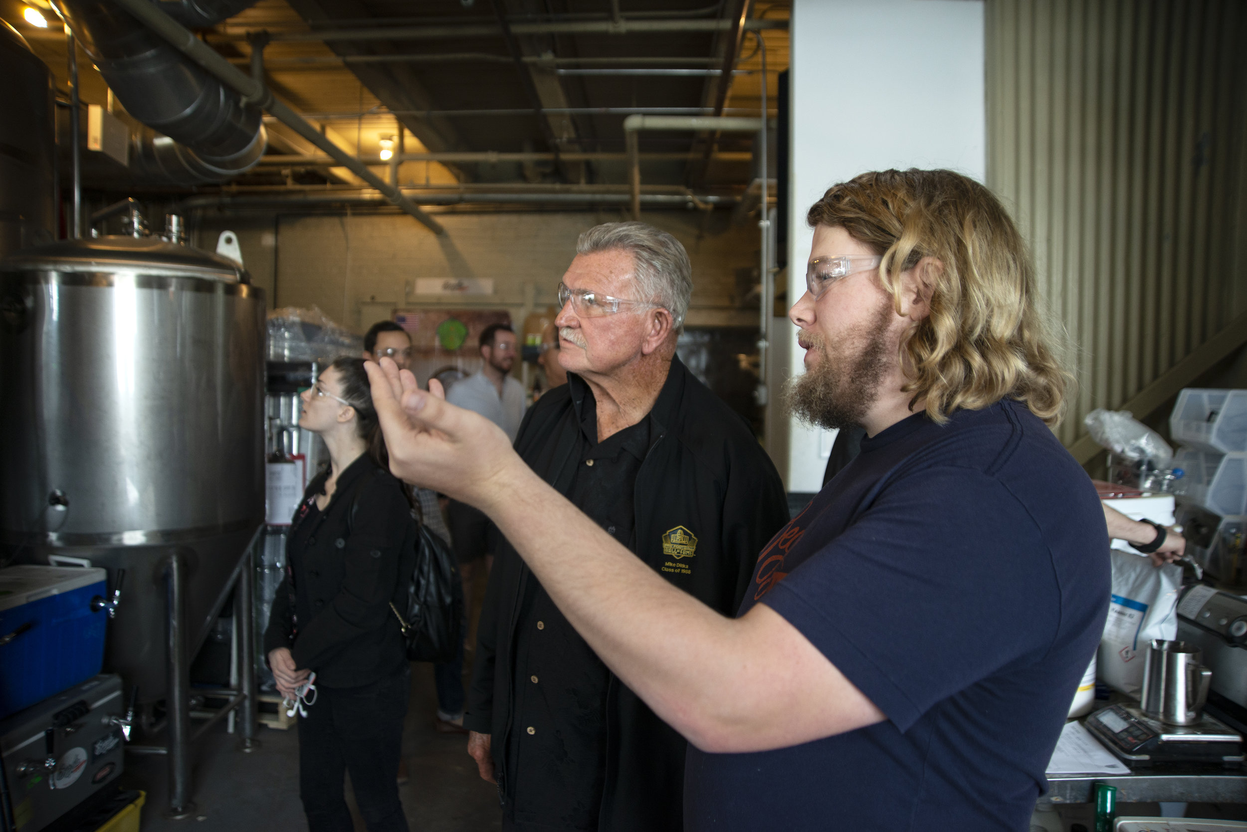 Begyle founder Kevin Cary walks Ditka through his beers and brewery.