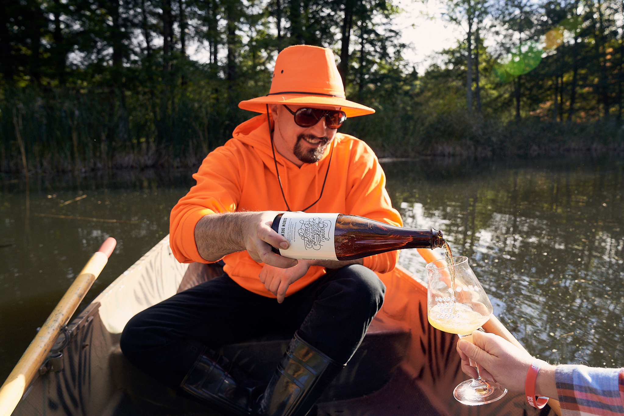 Brewer Mike Fava pours some barrel-aged  Farmhouse Pale Ale  on the pond.