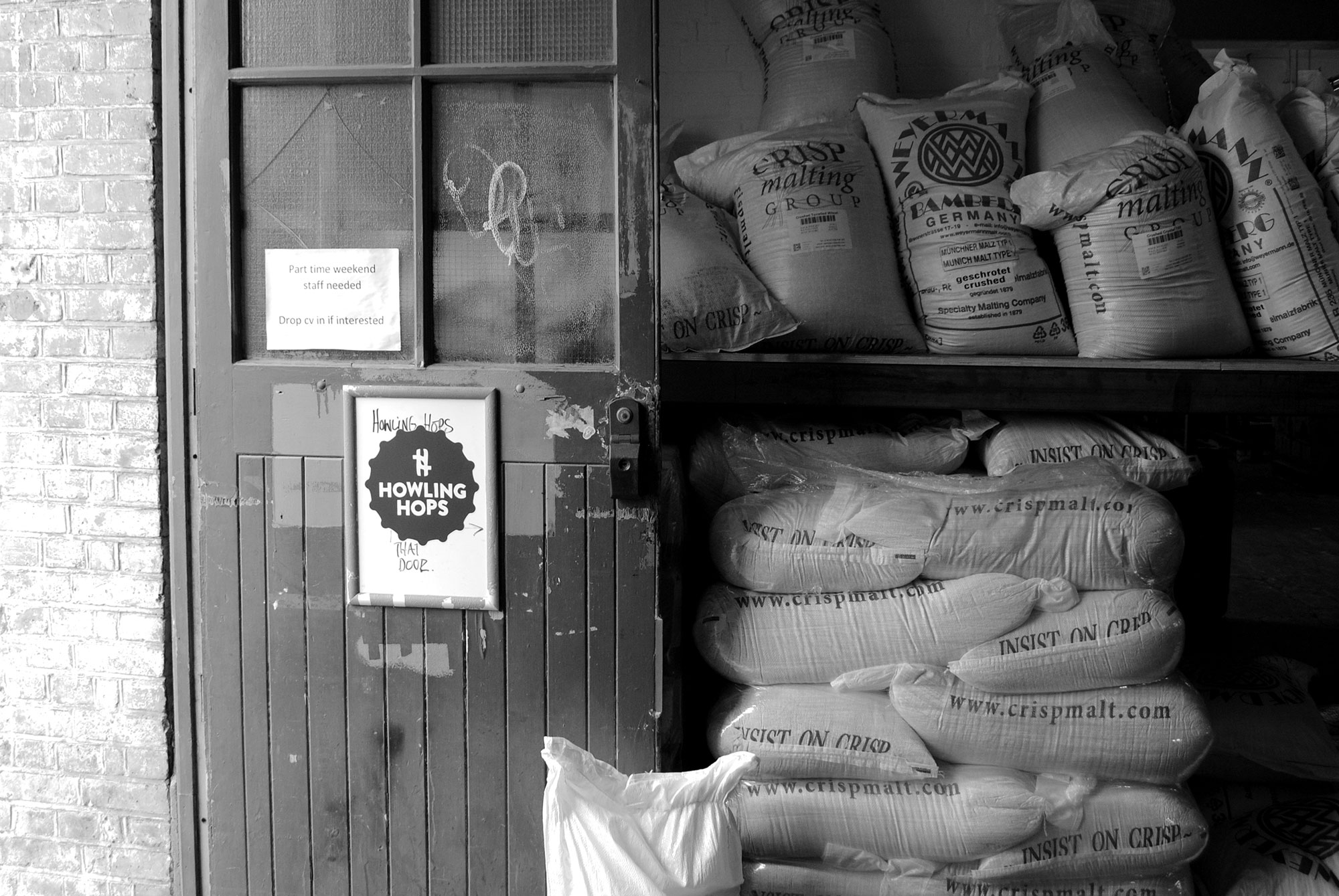 A stack of malt bags sit waiting at London's Howling Hops. Photo by Jack Muldowney.