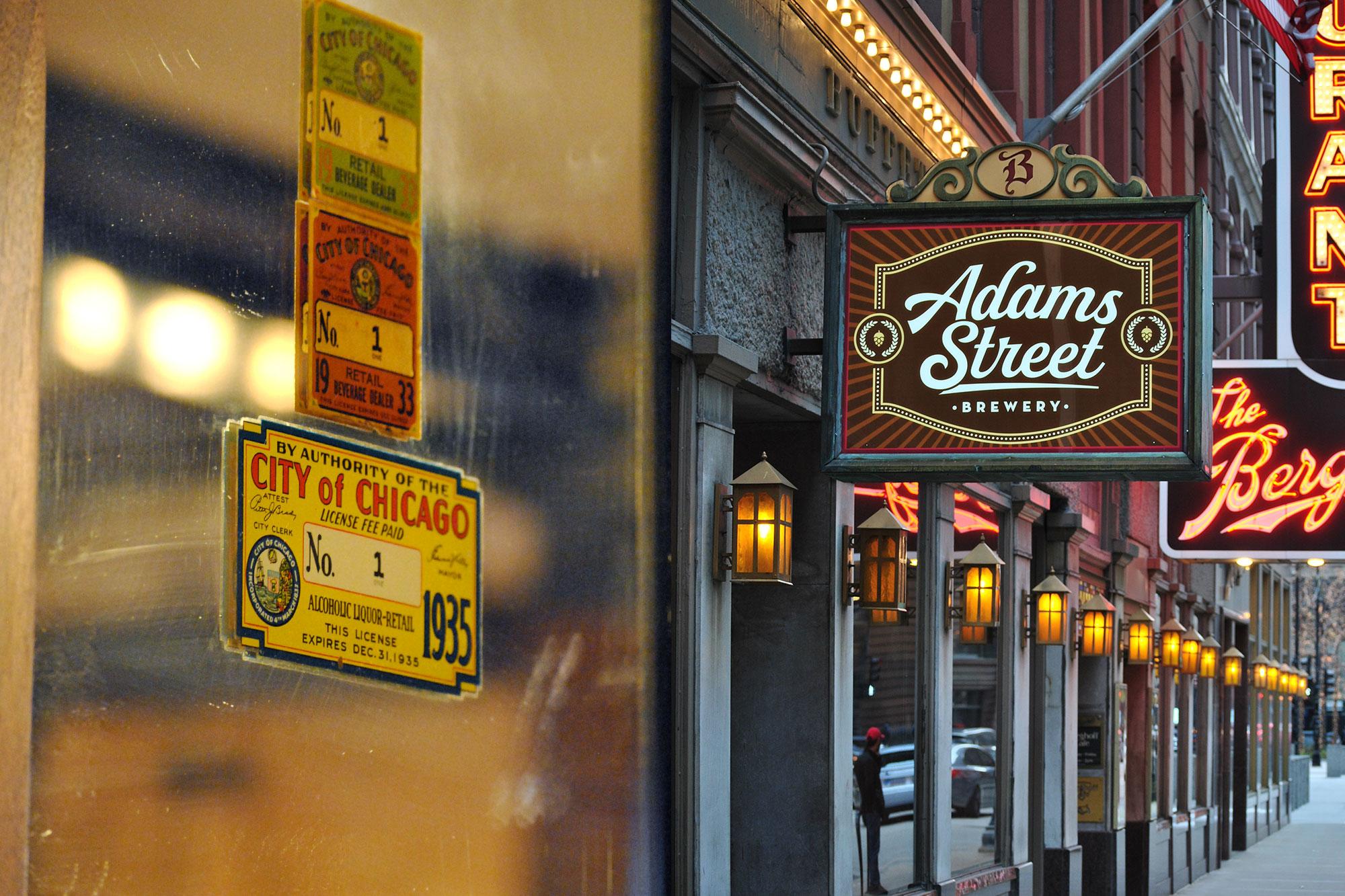 The Berghoff's original bar bears the historic 'Liquor License No. 1' badge, post-Prohibition.