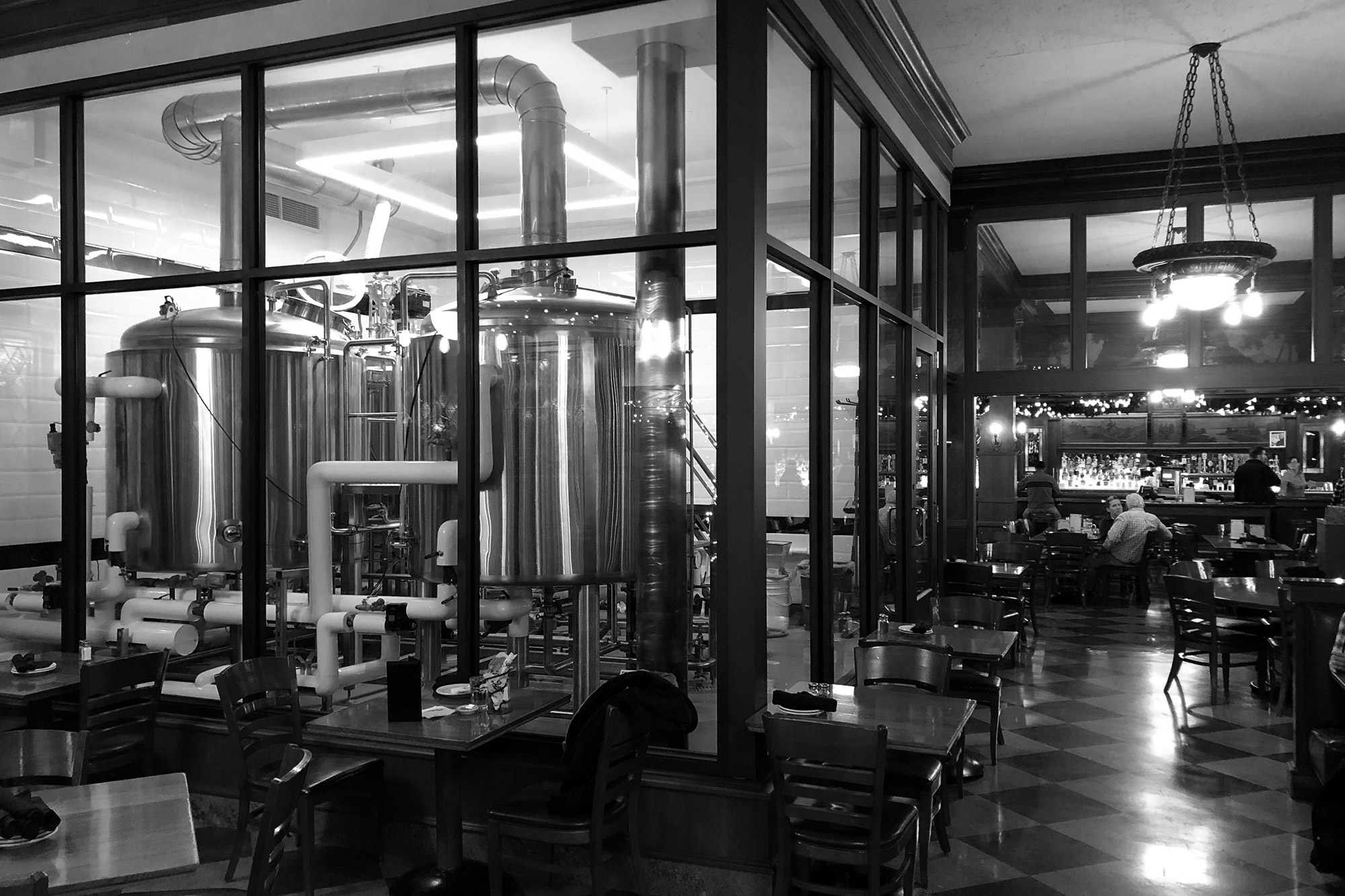 The new brew house, nestled in between the restaurant and revamped bar/taproom.