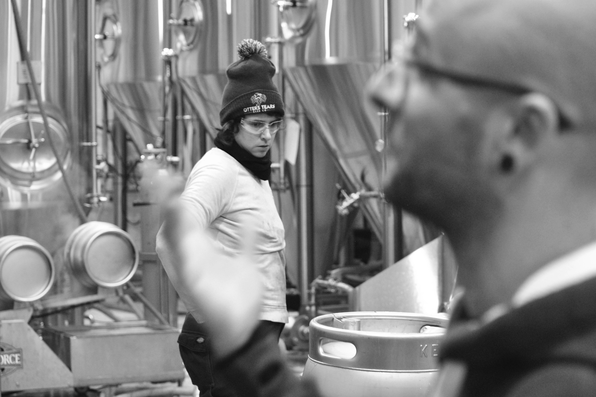 Packaging Manager, Claudia Asch, manages the kegging line.