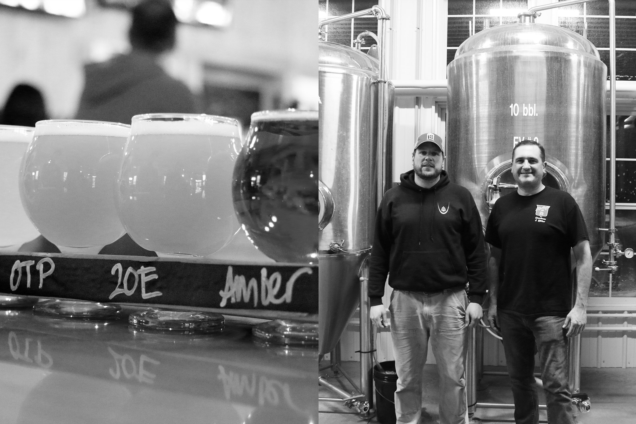 Head Brewer, John Frazee, and Palladino in the brewhouse.