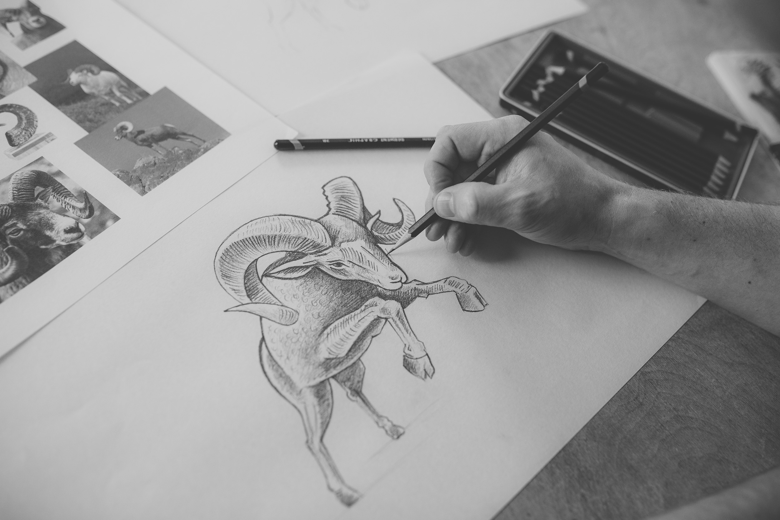 Hand-drawn logo illustration process.
