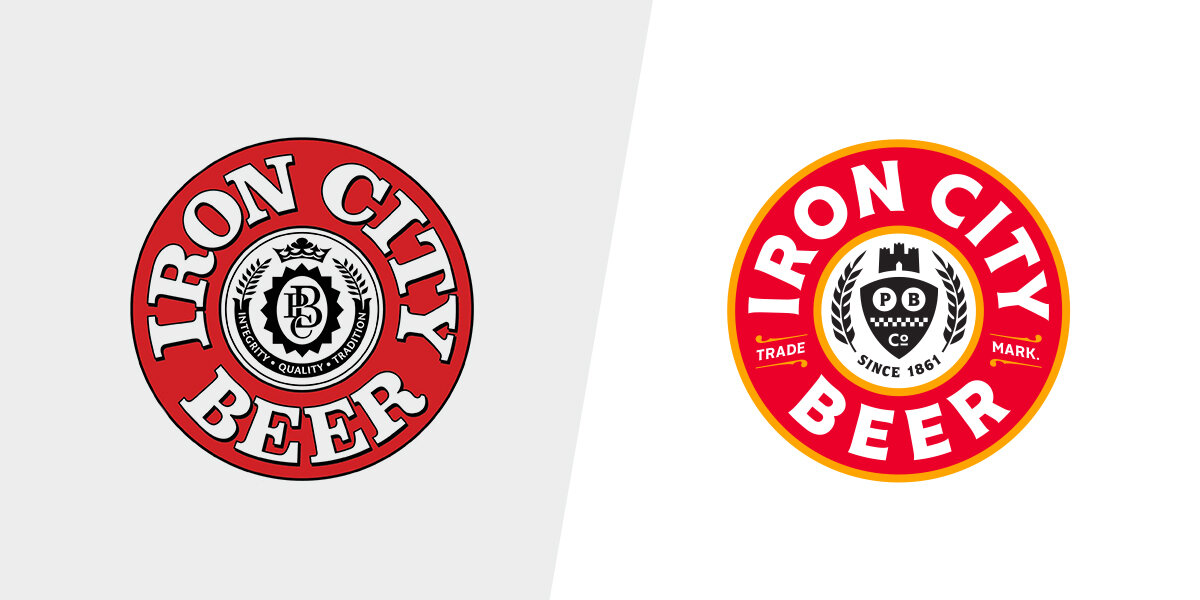 Badge logo, before and after