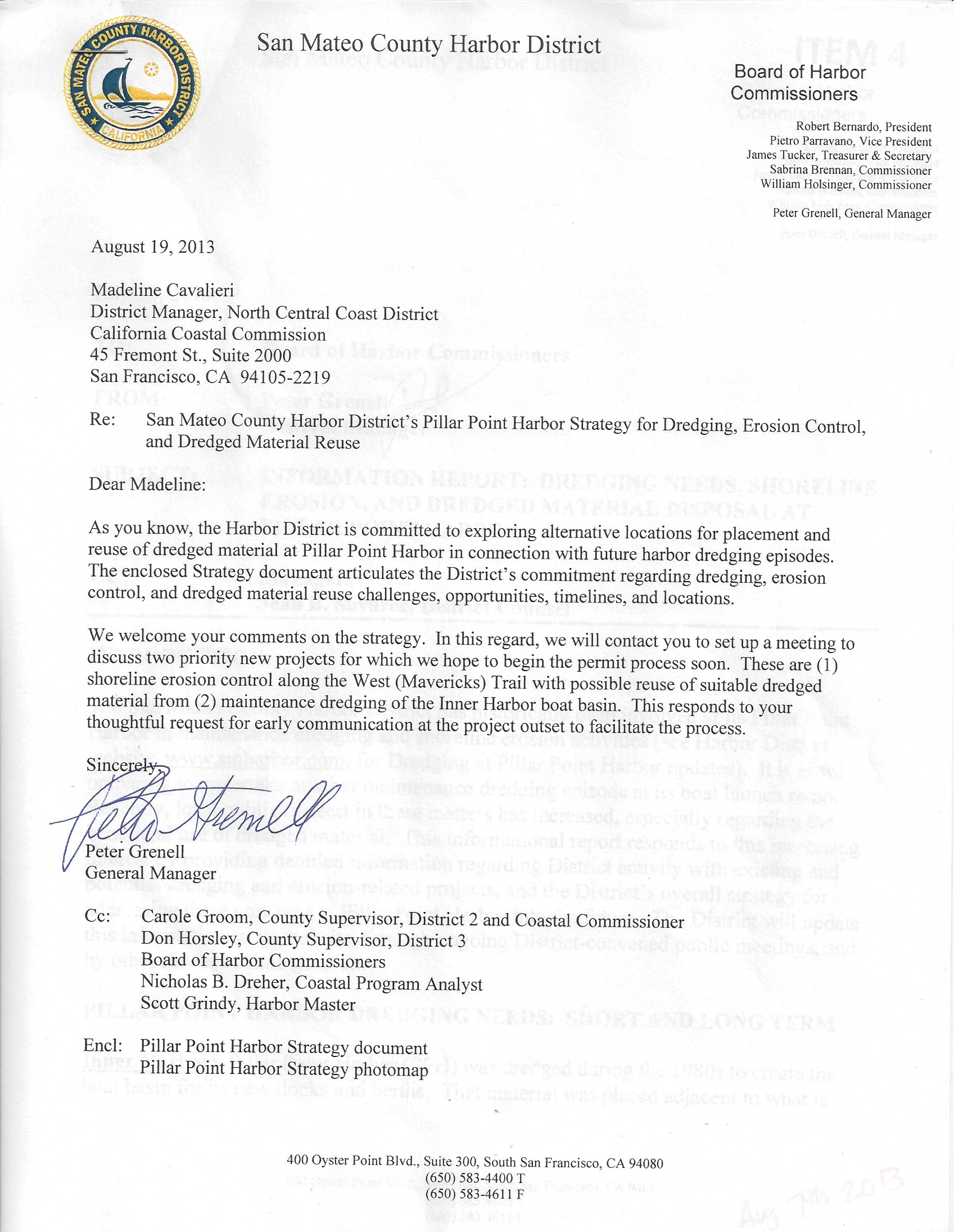 SMCHD Dredging Letter to Coastal Commission