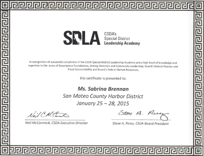 CSDA Special District Leadership Academy certificate