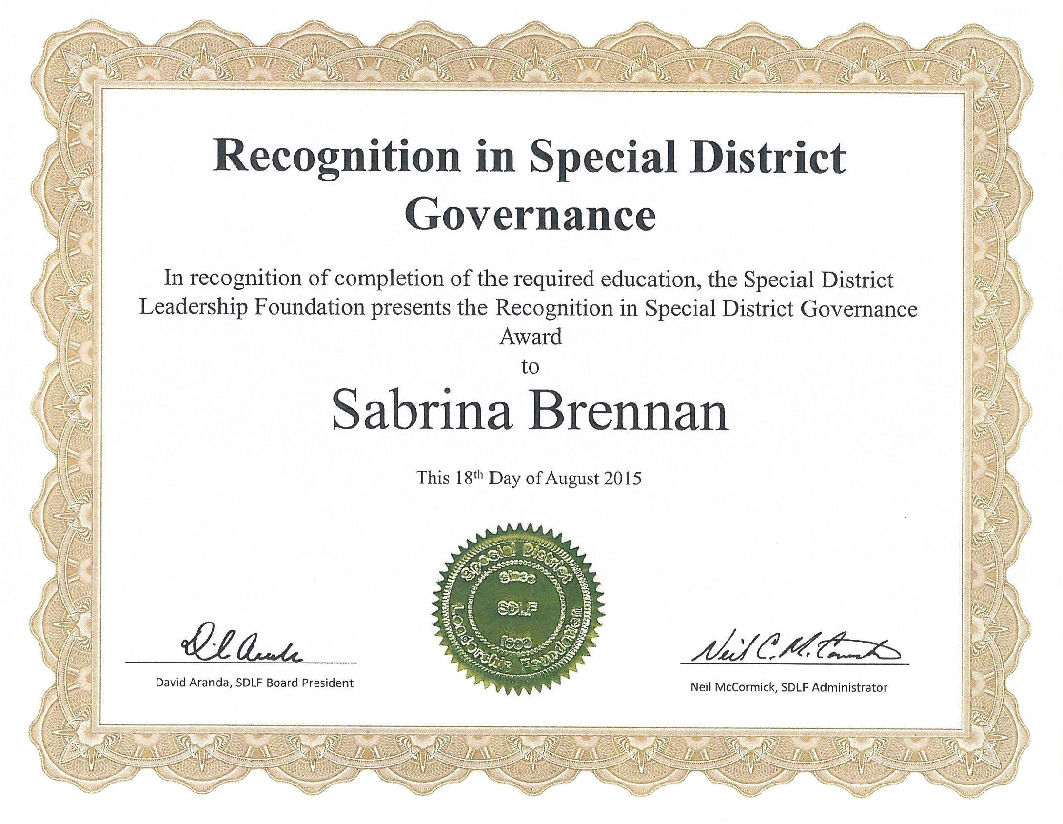 Sabrina Brennan Governance Award