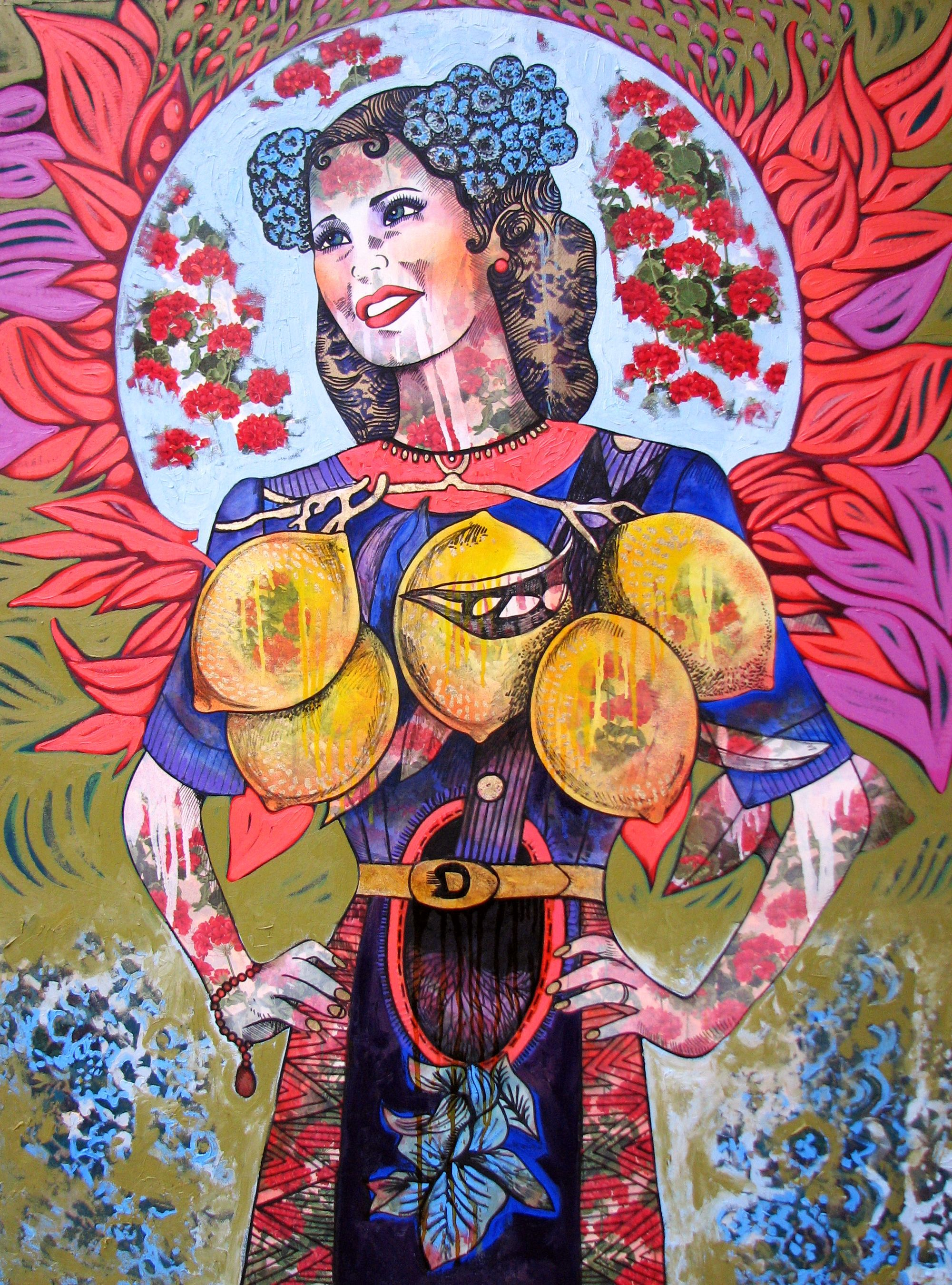 Hickey, S. 2013. The Happy Baroness (with Californian lemons), 110 x 150cm, oil and mixed media on canvas