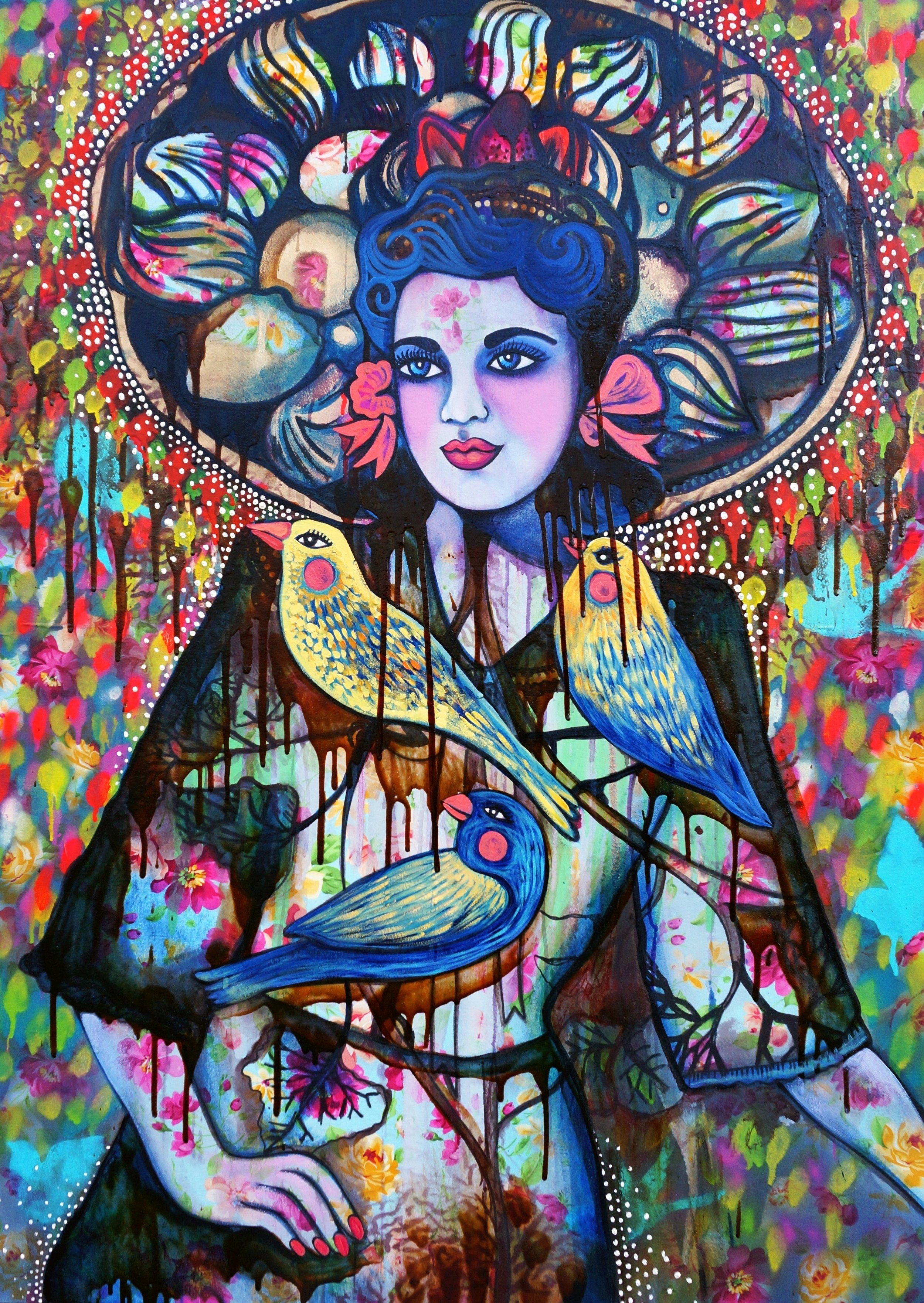 Hickey, S. 2016. Girl with Dessert Sombrero (Sweet treats in the shadows), 93 x 130 cm, oil and mixed media on canvas.