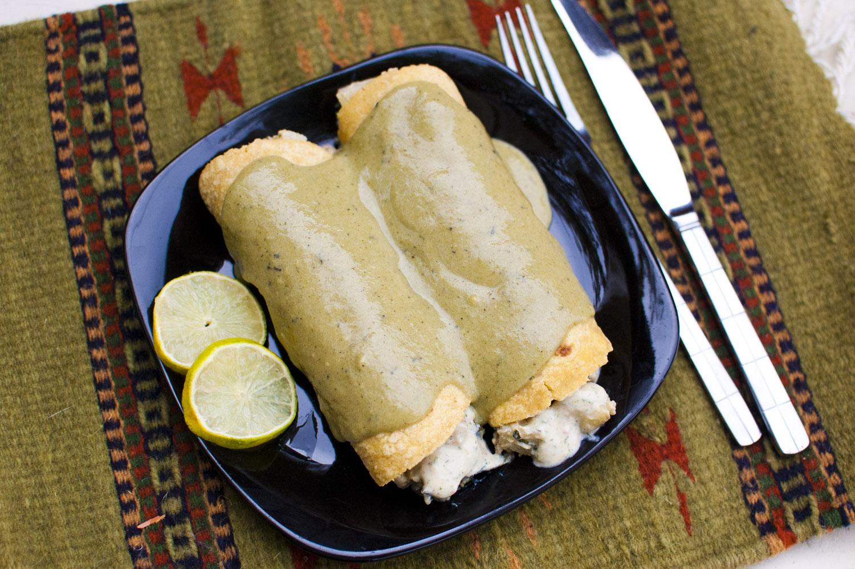 Jalapeno Ranch Potato Enchiladas with Roasted Poblano Sauce from Fo' Reals Life