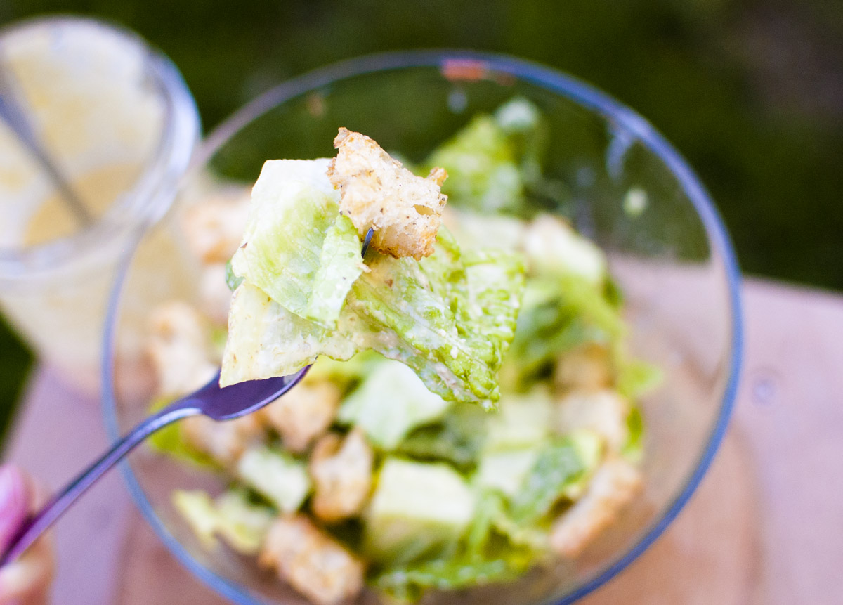 Vegan Caesar Salad with Herbed Croutons from Fo' Reals Life