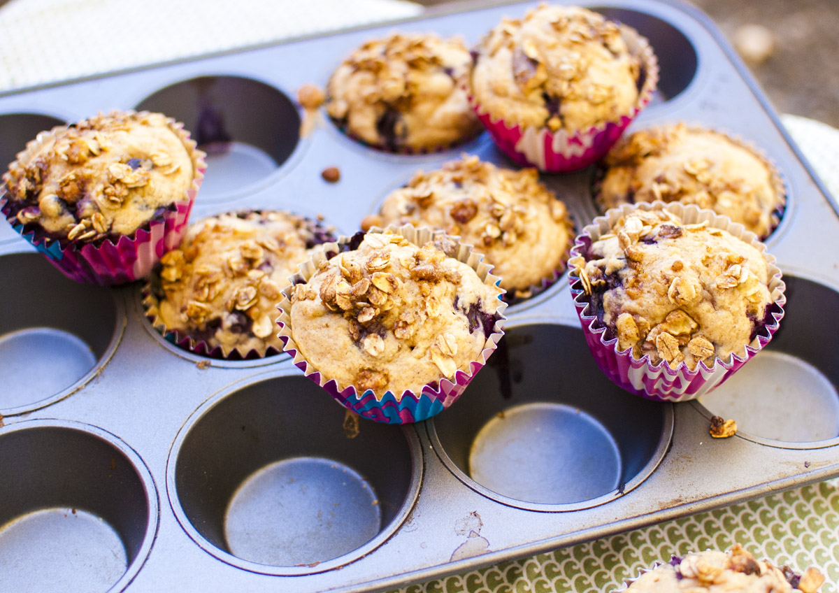 Easy Vegan Blueberry Crumble Muffins