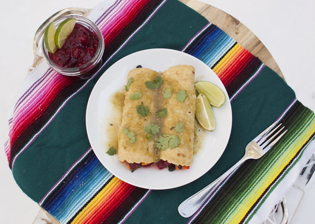 Cranberry, Sweet Potato and Black Bean Enchiladas