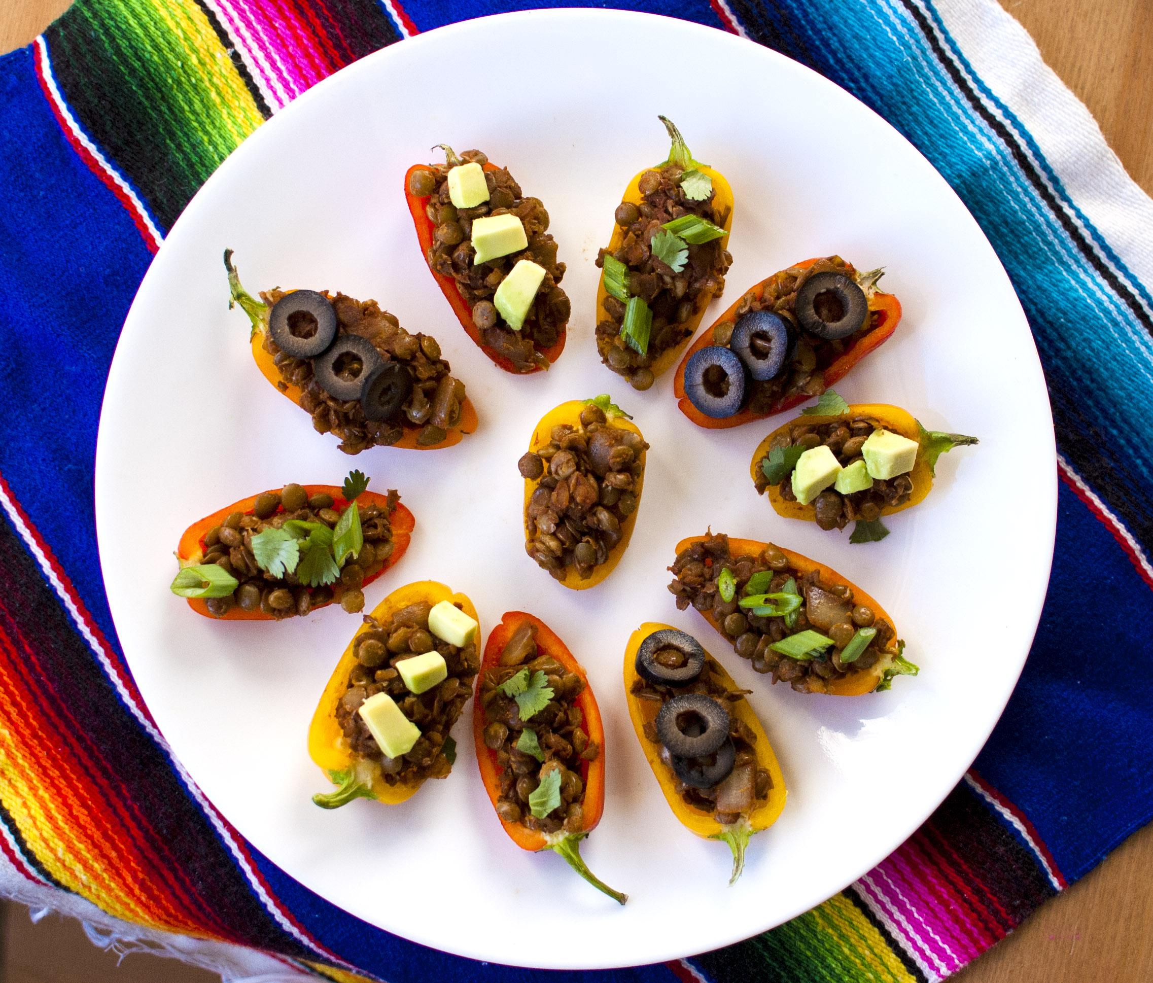 Mini Vegan Taco Lentils Stuffed Peppers