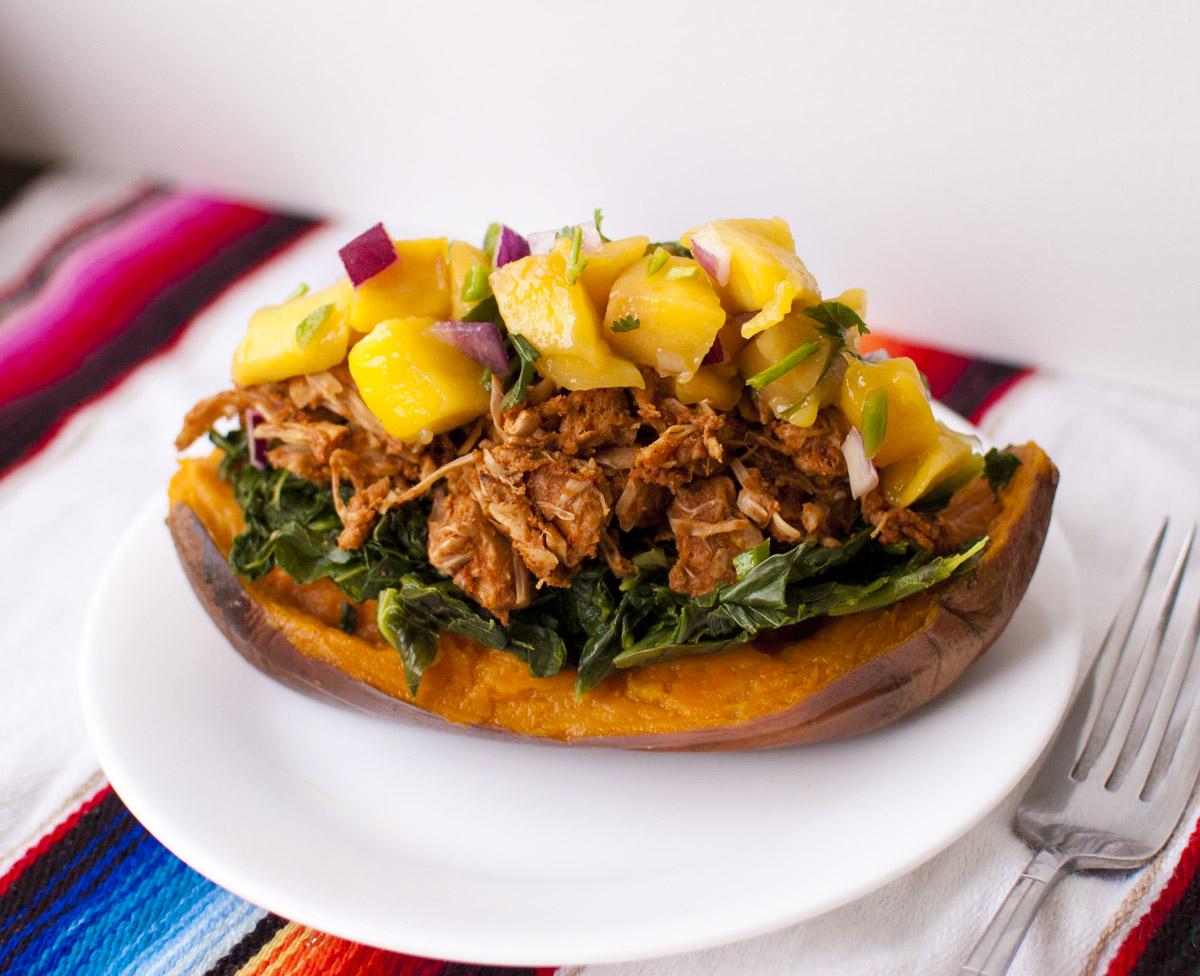 Collard Green, BBQ Jackfruit and Mango Salsa Stuffed Sweet Potatoes
