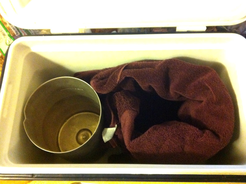 Here's my cooler set up before I put the yogurt starter in.