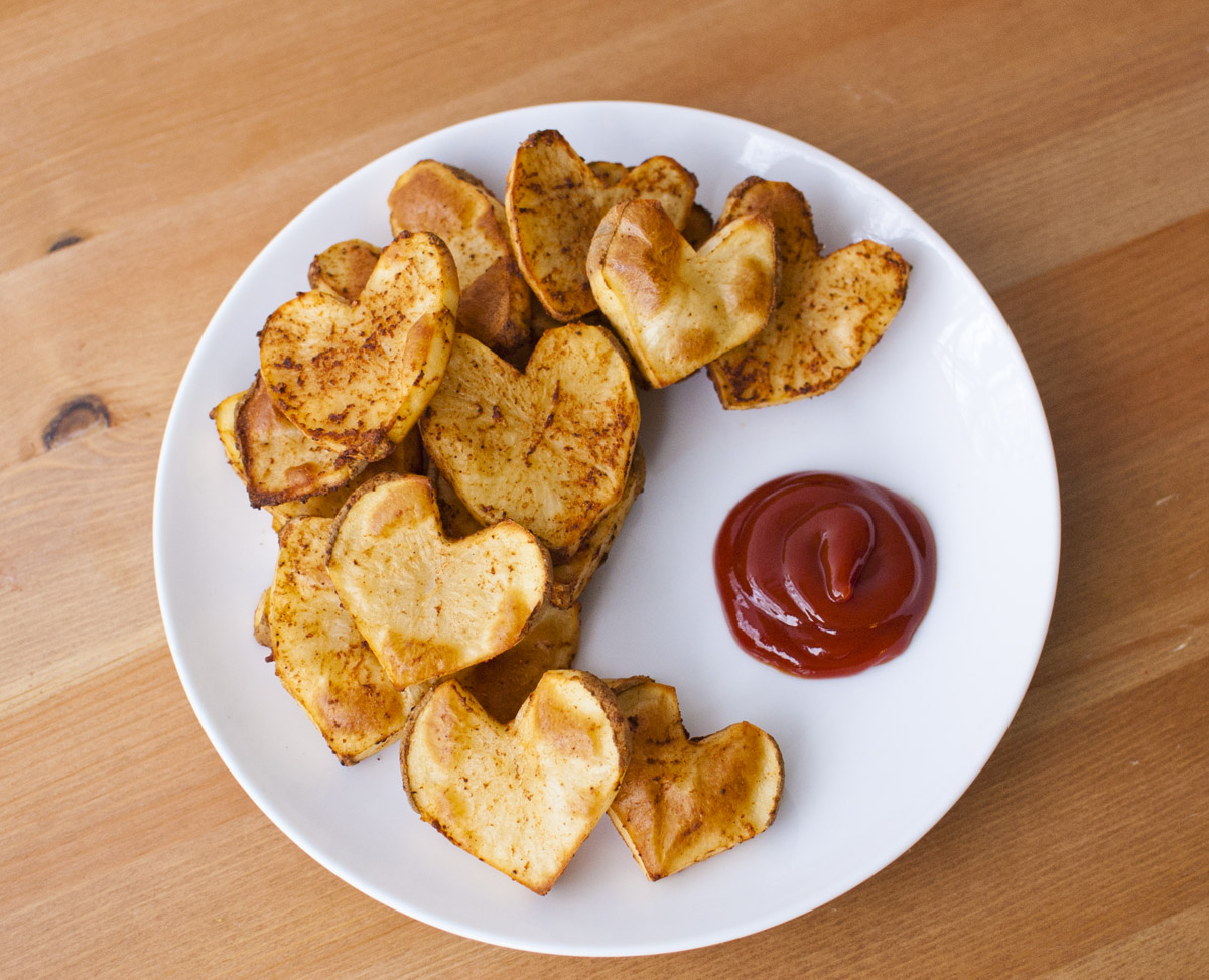 Baked Heart Shaped Seasoned French Fries (Plant Strong!)