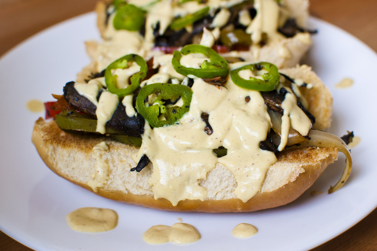 "Spicy Vegan Portobello Philly ""Cheesesteak"" Sandwiches"