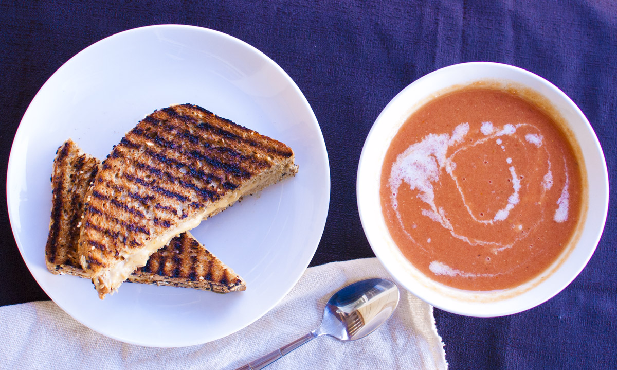 Vegan Grilled American Cheese Sandwich and Tomato Soup