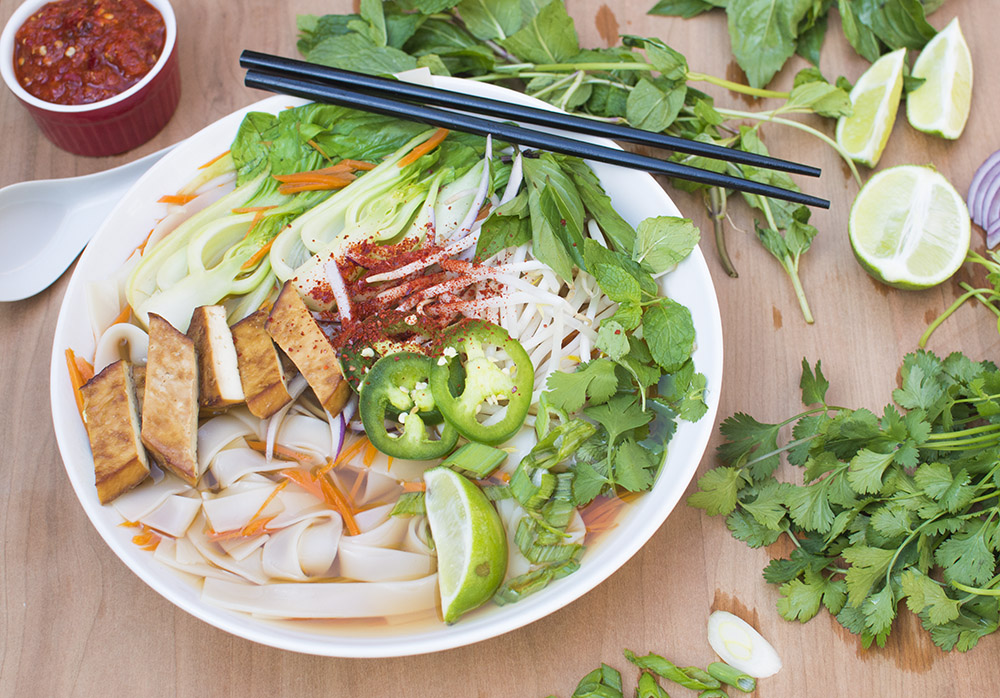 Vegan Pho with Baked Ginger Tofu
