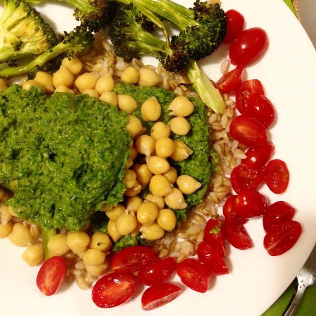 Roasted Broccoli Basil Pesto (oil free and vegan)