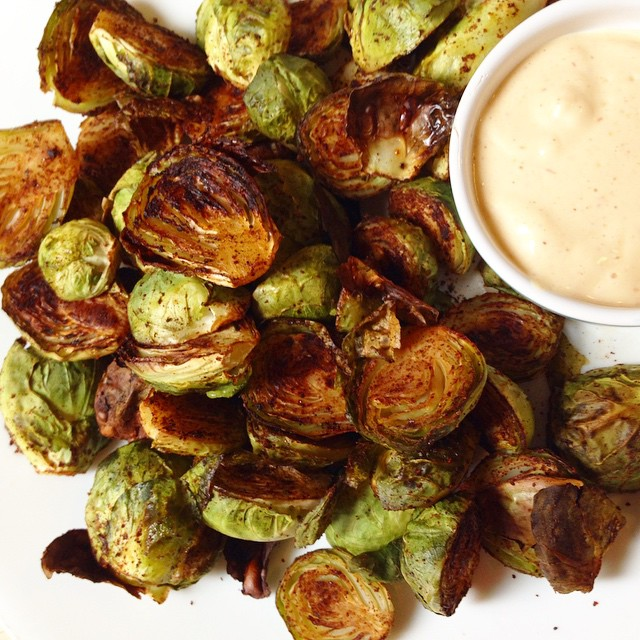 Chili Roasted Brussels Sprouts with Vegan Chipotle Hollandaise