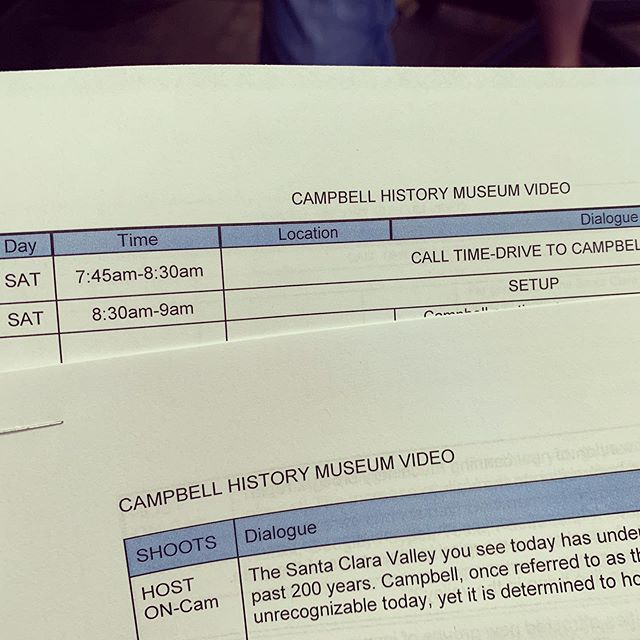 CALL TIME! Shooting starts tomorrow! @campbellmuseums #bayareavideographer #siliconvalley #campbell #localhistory