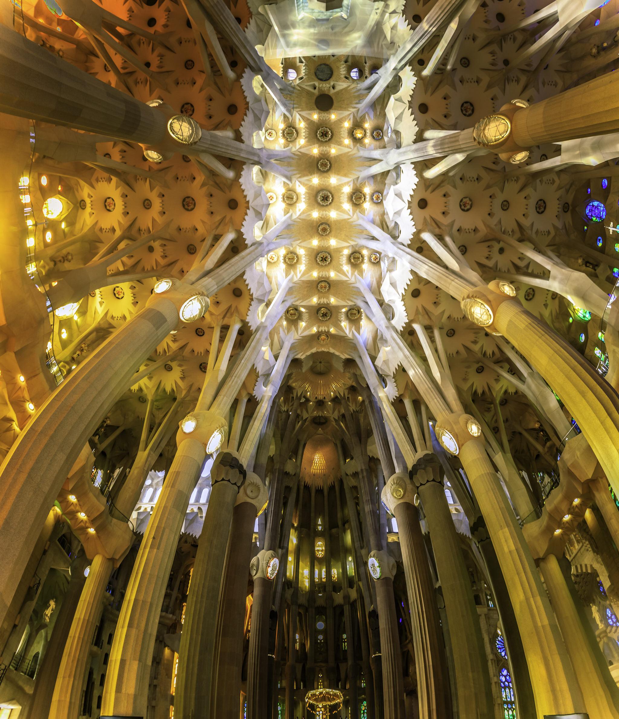 The amazing forest-like interior of the La Sagrada Familia